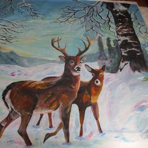 Zima - šolska scena - Akril na platnu - 250 x 170 cm - 2016
