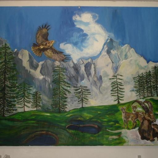 Naslikala sem zimsko sceno v avli december 2014-2015, Avtorica mag. Martina Hegediš – kopija
