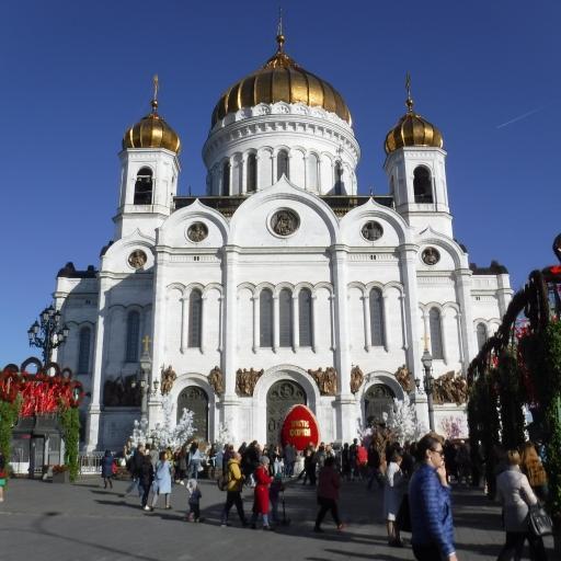 Moskva, Katedrala Kristusa odrešenika velikonočno odeta