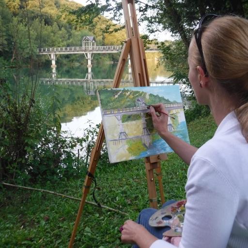 Slikanje v naravi ob Krki